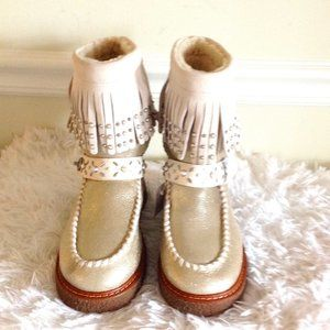 Coach Roccasin Shearling Fringe Studs Gold Boots